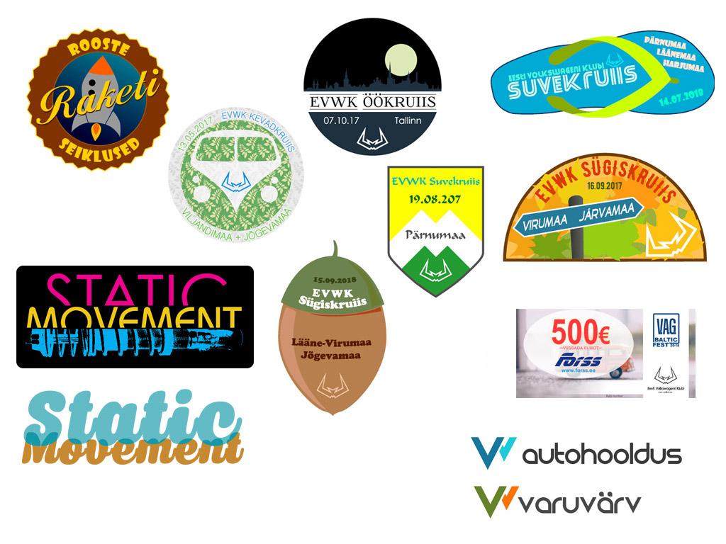 Valik erinevaid ürituse kleepse ning logosid.